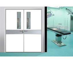 Hospital hygienic doors with glass window