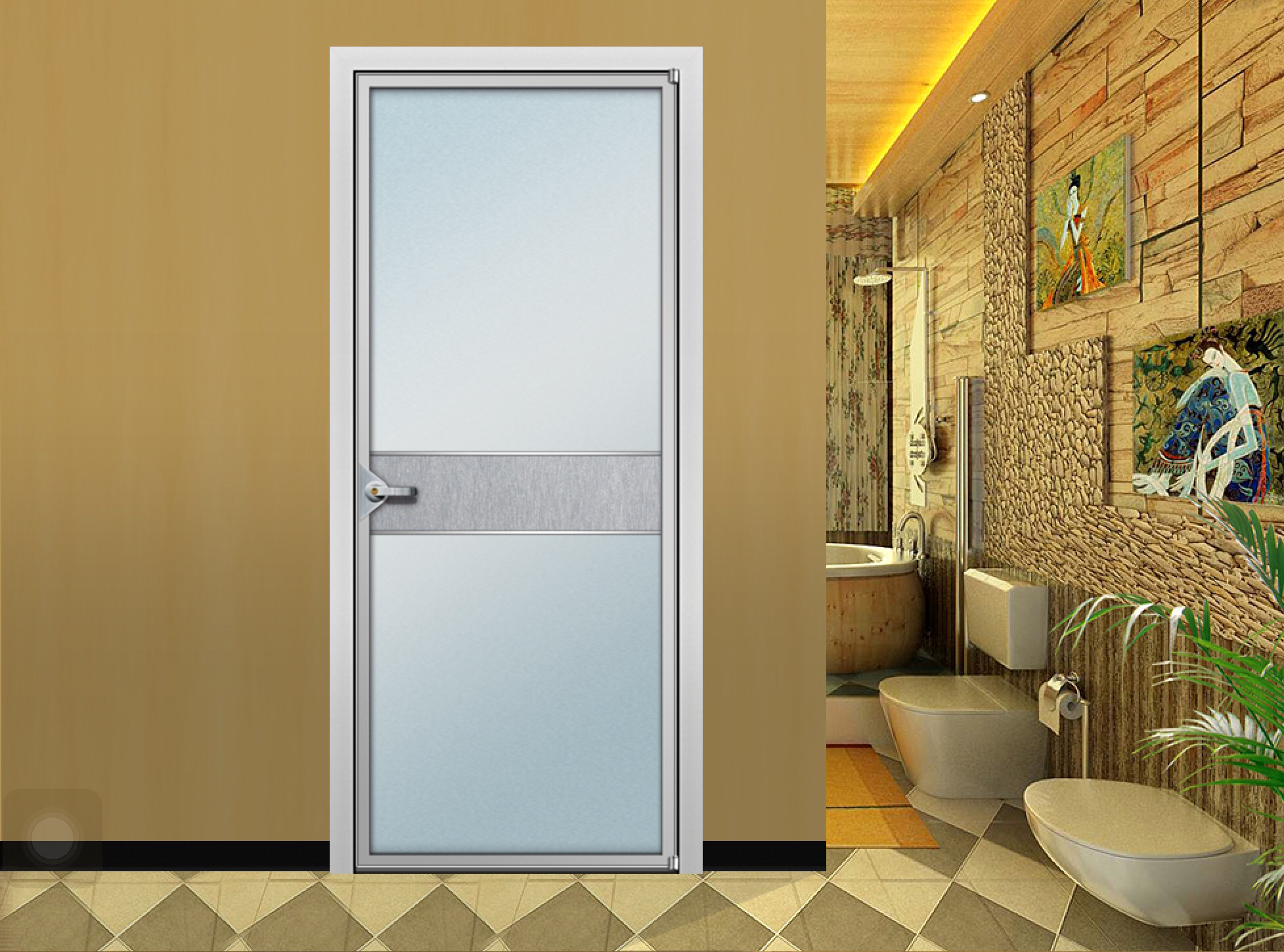 Tempered Glass Toilet Door For Office